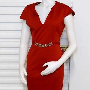 Kardashian Kollection VNeck Rust Shift Dress sz M
